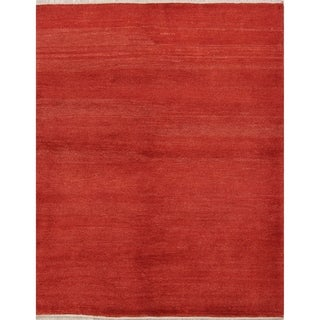 """Hand Knotted Wool Solid Gabbeh Shiraz Persian Carpet Area Rug - 4'11"""" x 3'3"""""""