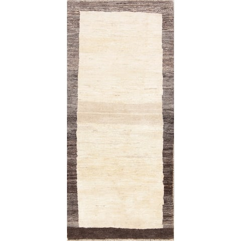 "Handmade Wool Thick Pile Solid Gabbeh Shiraz Modern Persian Rug - 6'1"" x 2'9"" runner"