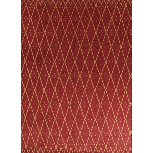 """Copper Grove Vestbjerg Oushak Trellis Indian Hand Knotted Oriental Area Rug - 10'0"""" x 13'9"""""""