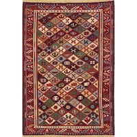 "Hand Woven Oriental Wool Kilim Shiraz Persian Carpet Area Rug - 6'6"" x 4'6"""