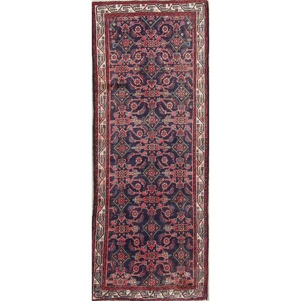 Vintage Hand Knotted Wool Geometric Malayer Persian 10 Foot Runner Rug 9 X27