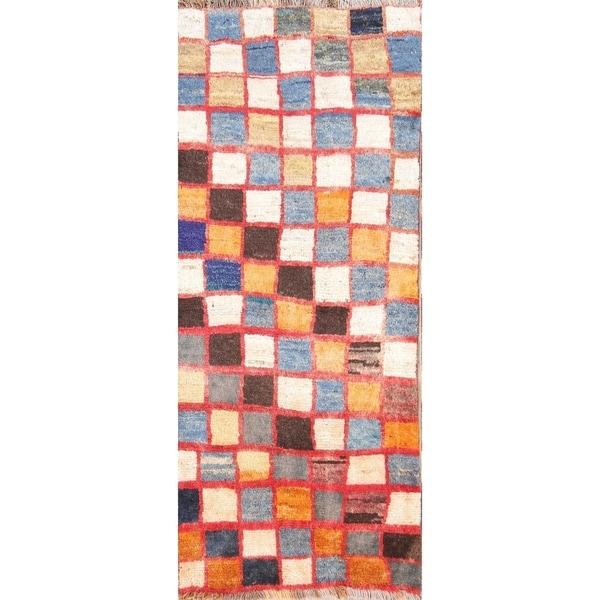 "Porch & Den Acorn Hand-knotted Checked Wool Gabbeh Runner Rug - 6'0"" x 2'6"" runner"