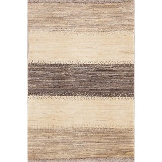 "Handmade Wool Striped Gabbeh (Zolanvari) Shiraz Persian Area Rug - 3'10"" x 2'8"""