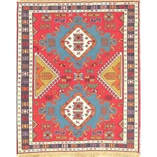 """Hand Woven Woolen Oriental Kilim Sumak Kazak Persian Carpet Area Rug - 6'2"""" x 5'2"""""""
