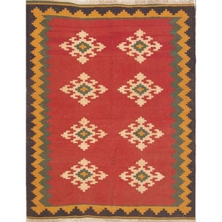 "Hand Woven Wool Oriental Kilim Shiraz Persian Carpet Area Rug - 6'4"" x 5'1"""