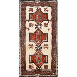 "Vintage Hand Made Wool Geometric Gabbeh Qashqai Persian Rug - 6'3"" x 3'3"" runner"
