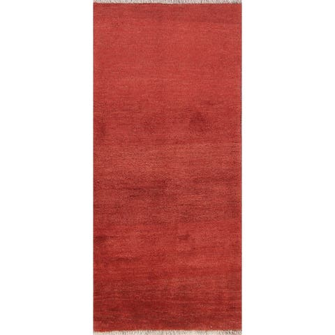 "Handmade Wool Contemporary Gabbeh Shiraz Persian Solid Rug - 6'2"" x 2'7"" runner"