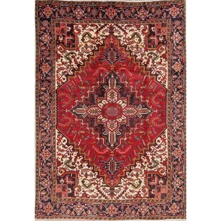 "Hand Knotted Oriental Heriz Persian Vintage 100% Wool Carpet Area Rug - 9'3"" x 6'5"""