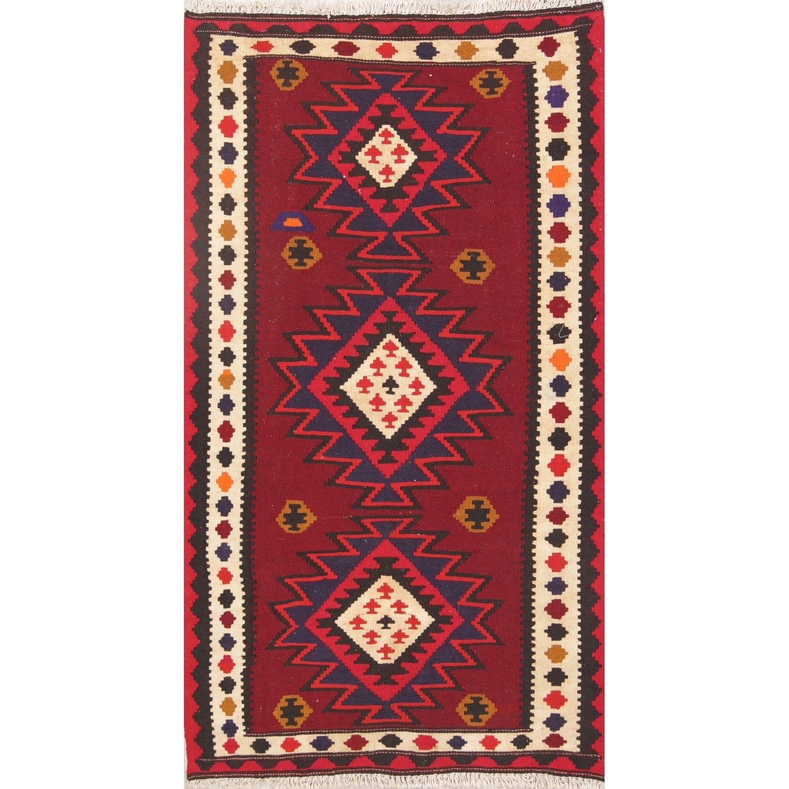 Hand Woven Wool Geometric Kilim Shiraz Persian Rug For Bedroom 5 10 X 3 3 Runner