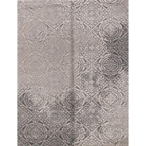 "Geometric Belgian Oriental Area Rug Grey For Bedroom Wool - 5'2"" x 7'3"""