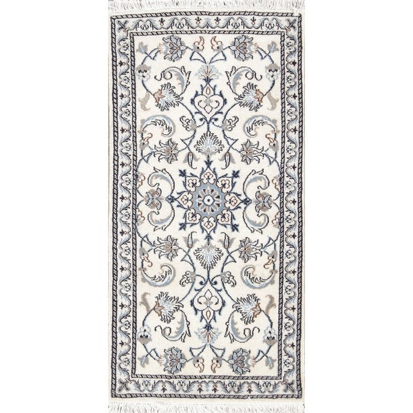 "Copper Grove Pardubice Hand-knotted Wool and Silk Ivory Floral Nain Persian Rug - 4'7"" x 2'3"" runner"
