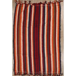 Vintage Hand Knotted Striped Tribal Kilim Shiraz Persian Area Rug - 7' 10'' x 5' 3''