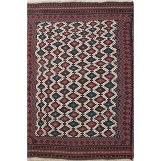 "Hand Woven Wool Geometric Tribal Wool Kilim Qashqai Persian Area Rug - 7'5"" x 4'11"""