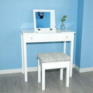 Vanity Table Set Makeup Jewelry Flip-top Mirrored Dressing Table Set, White/Black/Espresso