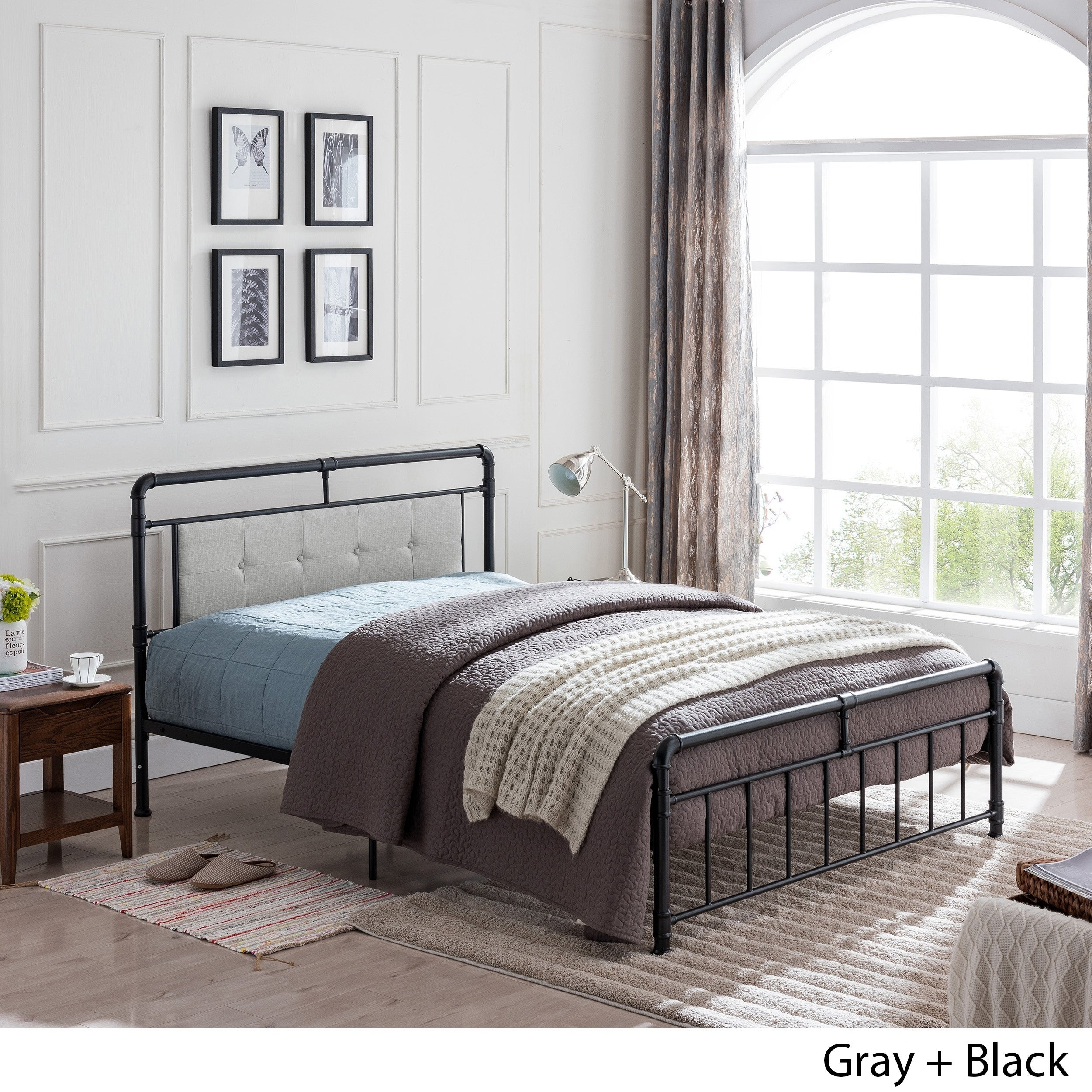Picture of: Goddard Industrial Upholstered Headboard Queen Size Bed Frame By Christopher Knight Home On Sale Overstock 24115054 Gray Black