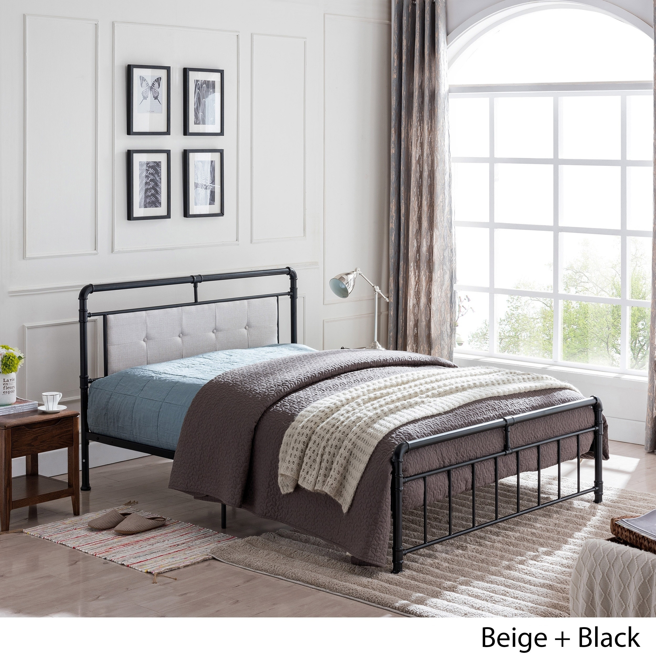 Goddard Industrial Upholstered Headboard Queen Size Bed Frame By Christopher Knight Home On Sale Overstock 24115054 Gray Black