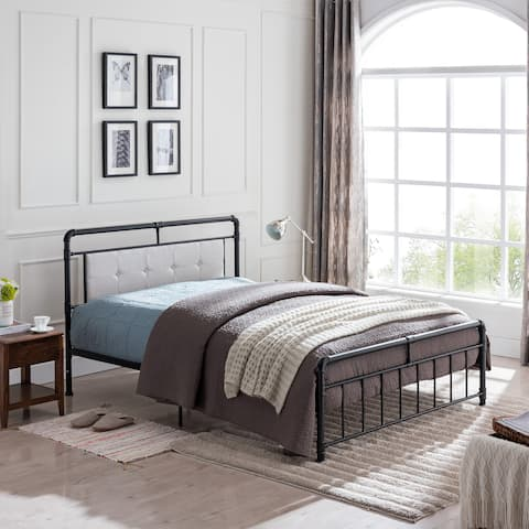 Goddard Industrial Upholstered Headboard Queen-Size Bed Frame by Christopher Knight Home