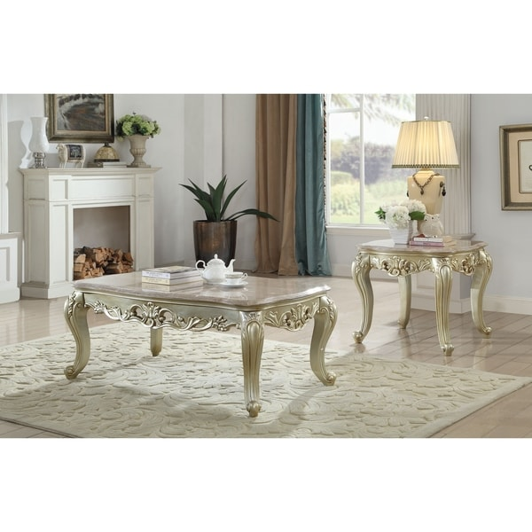 ACME Gorsedd Coffee Table in Marble and Antique White