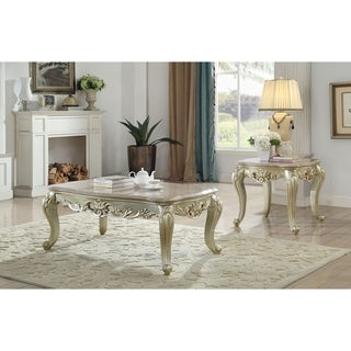 ACME Gorsedd End Table in Marble and Antique White