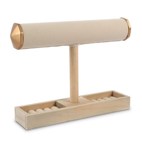 Ikee Design Wooden Jewelry Holder Display Stand with Ring Slots
