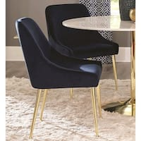 Mid Century Italian Design Classic Blue Velvet Dining Chairs with Brass Legs (Set of 2)