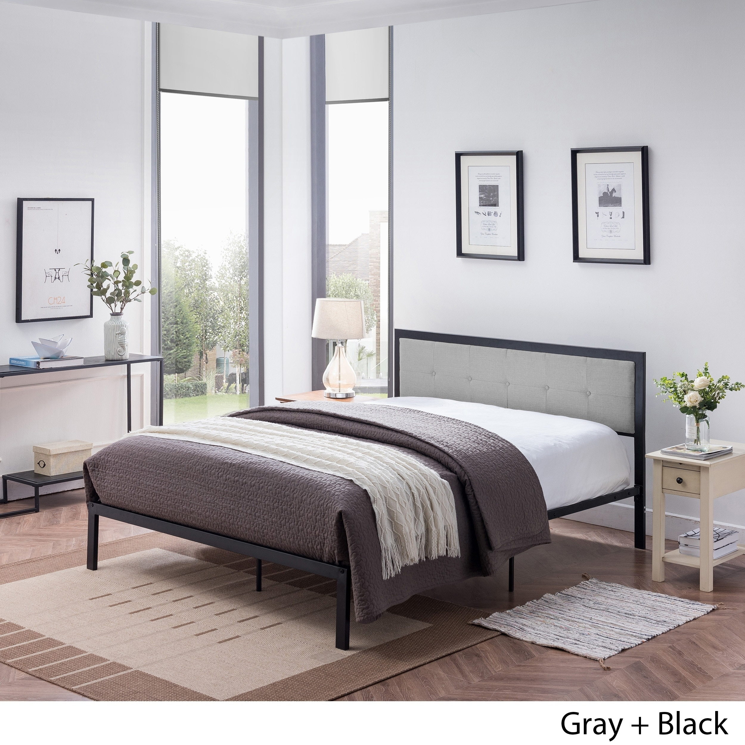 Haroun Contemporary Upholstered Headboard Queen Size Bed Frame By Christopher Knight Home Overstock 24115157