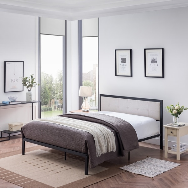 Haroun Contemporary Upholstered Headboard Queen-Size Bed Frame by Christopher Knight Home. Opens flyout.