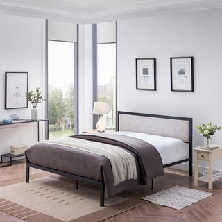 Haroun Contemporary Upholstered Headboard Queen-Size Iron Bed Frame by Christopher Knight Home