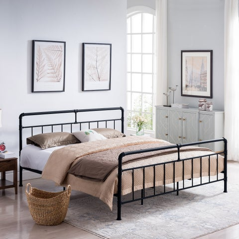 Mowry Industrial King-Size Iron Bed Frame by Christopher Knight Home