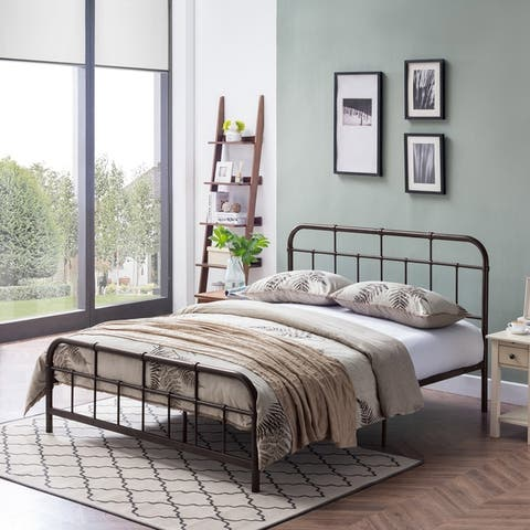 Berthoud Industrial Queen-Size Iron Bed Frame by Christopher Knight Home