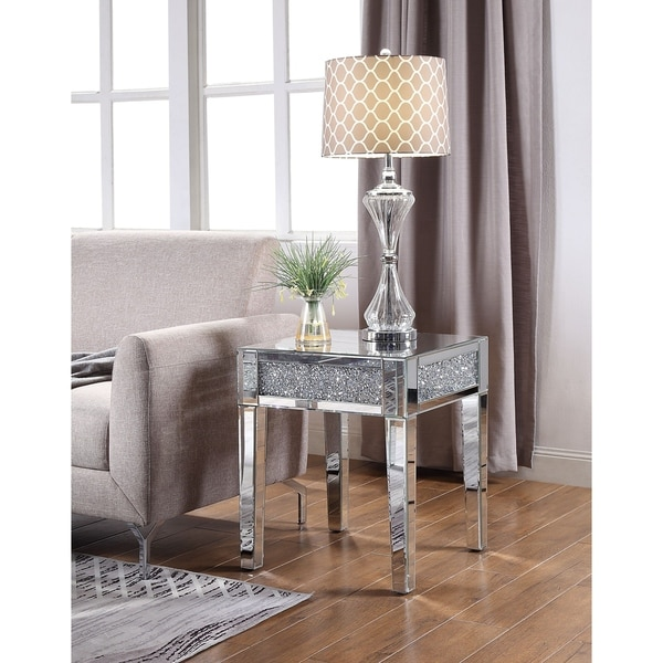 Shop ACME Noralie End Table In Mirrored And Faux Diamonds