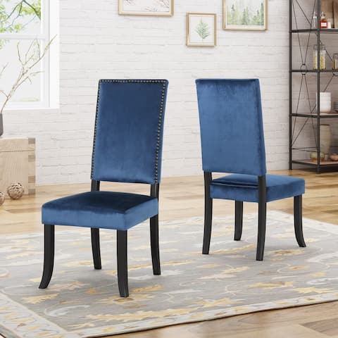 Coquille Glam High Back Nailhead Accents Velvet Dining Chairs (Set of 2) by Christopher Knight Home