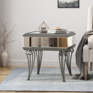 Helenius Modern Tempered Glass Mirrored Accent Table with Drawer by Christopher Knight Home