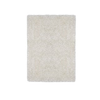 Contemporary Style Polyester Area Rug With cotton Backing, White - 5' x 8'