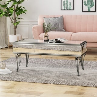 Belvidere Modern Tempered Glass Mirrored Coffee Table with Drawer by Christopher Knight Home