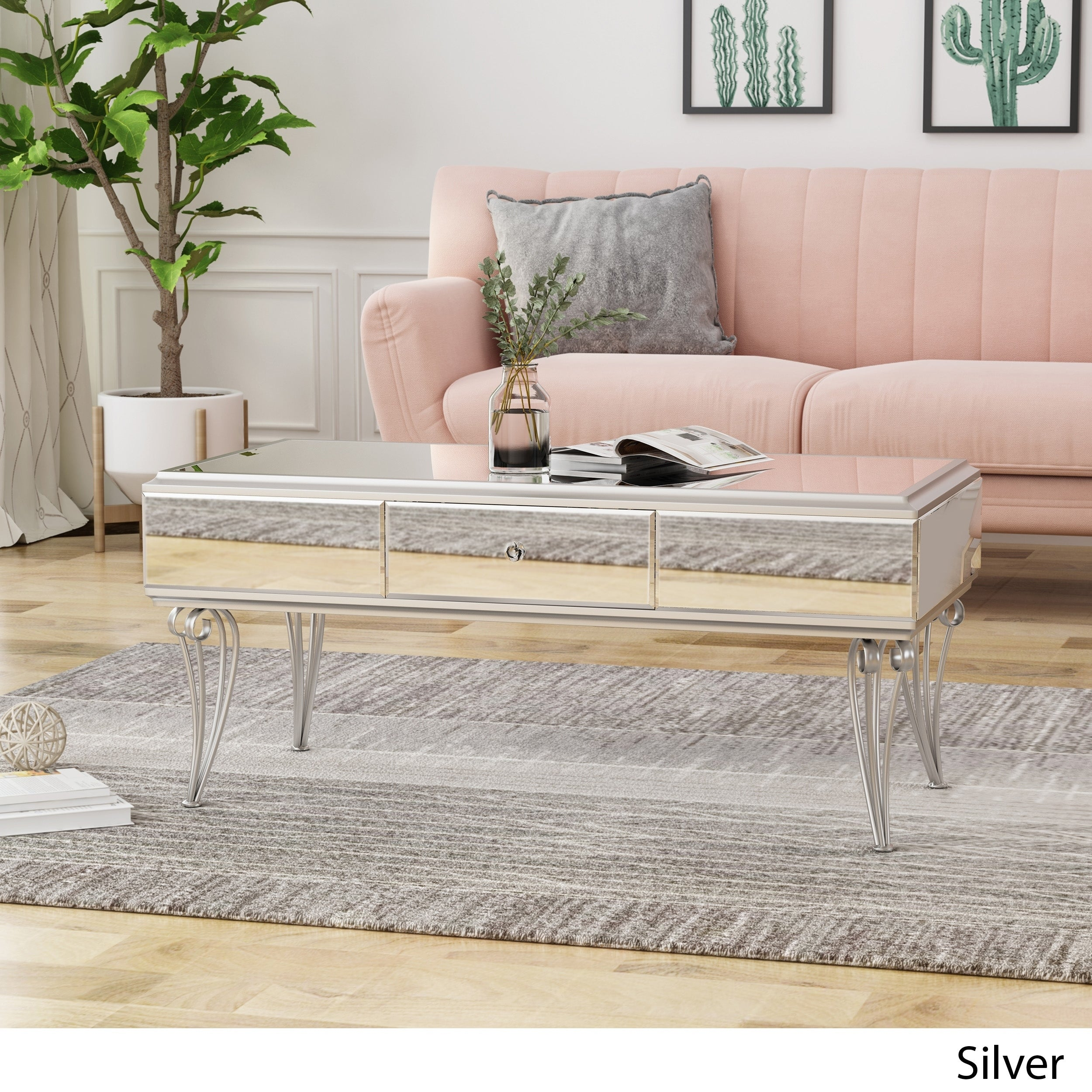 Belvidere Modern Tempered Glass Mirrored Coffee Table With Drawer By Christopher Knight Home Overstock 24115201 Silver
