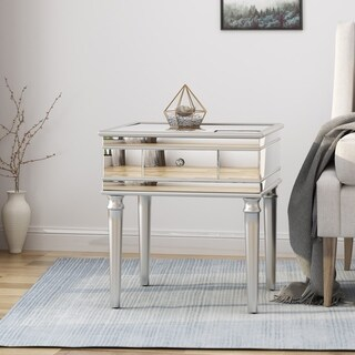 Marinette Modern Tempered Glass Mirrored Accent Table with Drawer by Christopher Knight Home