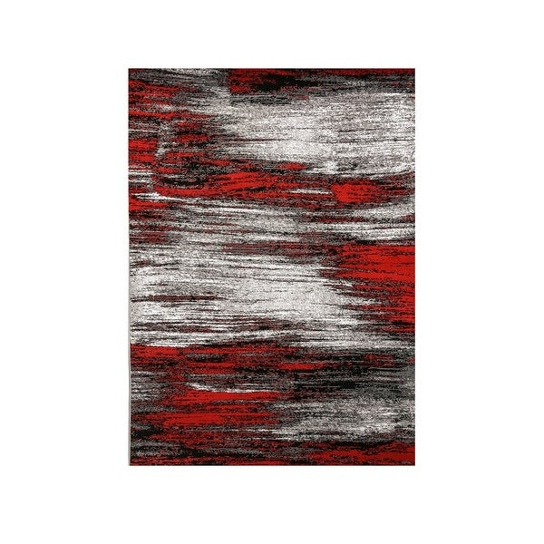 Shaded Patterned Area Rug In Polyester With Jute Mesh, Small, Red and Gray - 5' x 8'