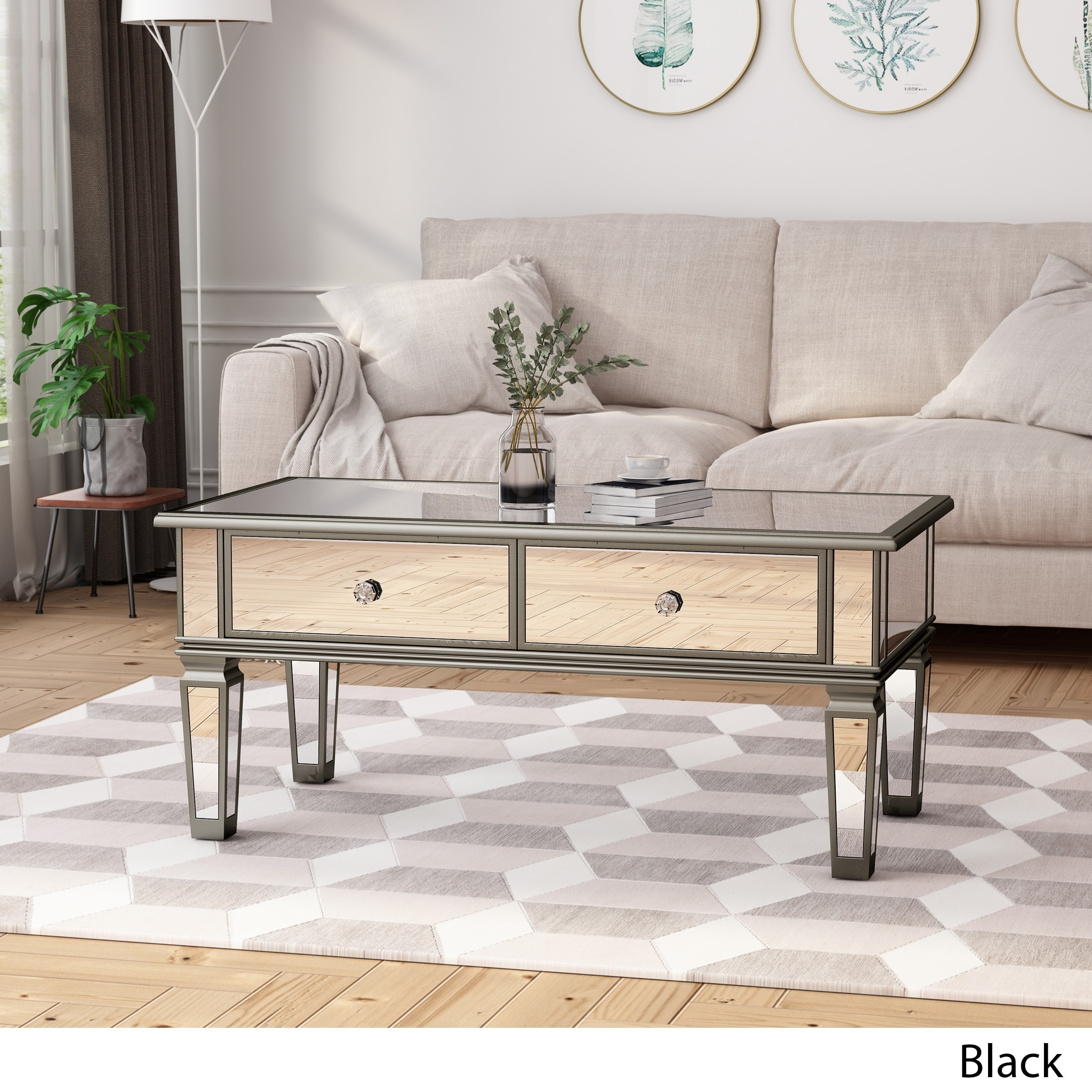 Helvetia Modern Tempered Glass Mirrored Coffee Table with Drawers by  Christopher Knight Home