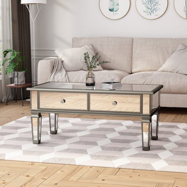 Tempered Glass Coffee Table With Drawers: Shop Helvetia Modern Tempered Glass Mirrored Coffee Table