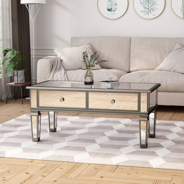 Shop Helvetia Modern Tempered Glass Mirrored Coffee Table