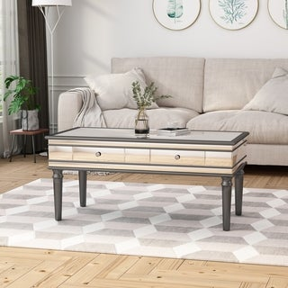 Preslynn Modern Tempered Glass Mirrored Coffee Table with Drawers by Christopher Knight Home