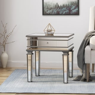 Garibaldi Modern Tempered Glass Mirrored Accent Table with Drawer by Christopher Knight Home