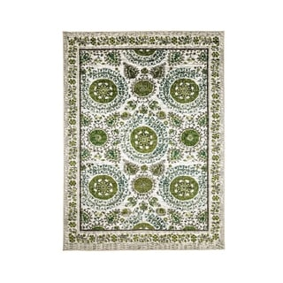 Traditional Style Nylon Area Rug With Flower Patterns, Small, Cream and Green - 5' x 8'