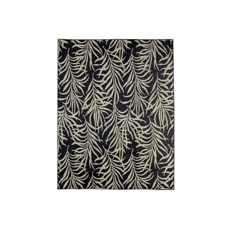 Contemporary Area Rug With Foliage Pattern In Polypropylene, Black and Beige - 5' x 8'