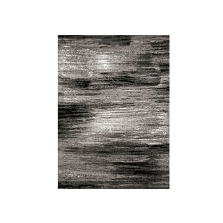 Shaded Patterned Area Rug In Polyester With Jute Mesh, Small, Gray and Black - 5' x 8'