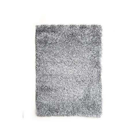 Contemporary Style Polyester Area Rug With cotton Backing, Gray - 5' x 8'