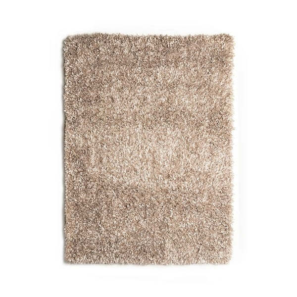 Contemporary Style Area Rug In Polyester With cotton Backing, Beige - 5' x 8'