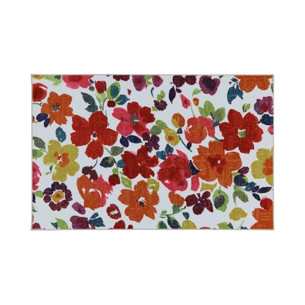 Bright Floral Pattern Nylon Area Rug With Latex Backing, Medium, Multicolor - 8' x 10'