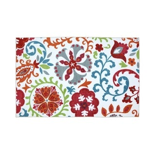 Nylon Area Rug With Floral and leafy Pattern, Small, Multicolor - 5' x 8'